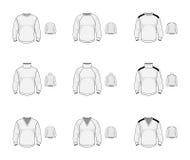 Sammlung des Trikotstrickjackenpullovers Zufällige Kleidung Vektor IL lizenzfreies stockbild