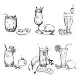 Sammlung des unterschiedlichen Smoothie im Glas Stock Abbildung
