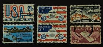 Sammlung des US-Luftpoststempels Stockfoto