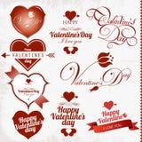 Sammlung des Valentinstagstempels Stockfotos