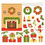 Sammlung des Weihnachts- und des neuen Jahresdekors lokalisiert auf weißem Hintergrund Vektorillustration in der Karikatur stock abbildung