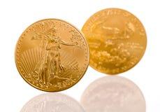 Sammlung ein UnzenGoldmünzen Stockfoto
