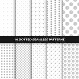 Sammlung einfache nahtlose punktierte Muster Lizenzfreie Stockbilder