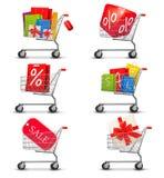 Sammlung Einkaufswagen voll der Einkaufstaschen Lizenzfreies Stockfoto