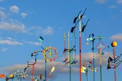 Sammlung einzigartige Windspinner gemacht vom Metall Lizenzfreie Stockfotografie