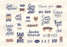 Sammlung elegante Hochzeitsbeschriftung oder -aufschriften handgeschrieben mit kalligraphischem Guss Satz Phrasen, Wörter vektor abbildung
