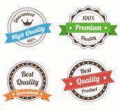 Sammlung erstklassige Qualitätsweinleseaufkleber in der Farbe Lizenzfreie Stockbilder