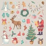 Sammlung farbiges Skizzen Weihnachten Lizenzfreies Stockbild