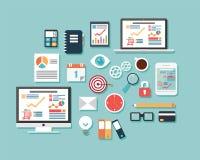 Sammlung flache Designikonen, Computer und tragbare Geräte, Cl Lizenzfreies Stockbild