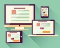 Sammlung flache Ikonen intelligentes Mobiltelefon, Laptop, Computer, t Lizenzfreies Stockbild
