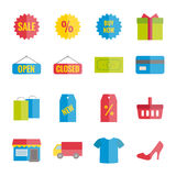 Sammlung flaches Einkaufen des bunten Vektors für Netz, Druck, bewegliche apps Stockfotografie