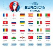 Sammlung Flaggen von Ländern Teilnehmer von EURO 2016 lizenzfreie abbildung