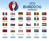 Sammlung Flaggen von Ländern Teilnehmer von EURO 2016 stock abbildung