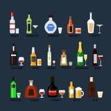 Sammlung Flaschen Alkohol in einer flachen Art Ikonen-Vektor-Illustration Lizenzfreie Stockfotos