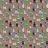Sammlung Flaschen Alkohol in einer flachen Art Ikonen-Vektor-Illustration Nahtloses Muster Lizenzfreie Stockbilder
