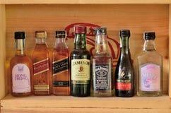 Sammlung Flaschen und Gläser des sortierten alkoholischen Getränkes lizenzfreie stockfotografie