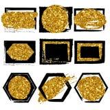 Sammlung Formen Schwarzes mit Goldfunkelnhintergrund für Visitenkarte Lizenzfreies Stockbild