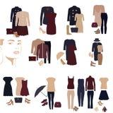 Sammlung Frauen ` s Kleidung in der gleichen Art Lizenzfreies Stockfoto