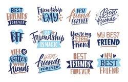 Sammlung Freunde und Freundschaftsbeschriftung handgeschrieben mit eleganten kalligraphischen Güssen Bündel von dekorativem vektor abbildung
