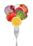 Sammlung Gabeln mit Gemüse und Früchten stockbild