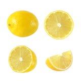 Sammlung ganze und geschnittene Zitronenfrüchte lizenzfreies stockfoto