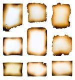 Sammlung gebrannte Papiere Stockfoto