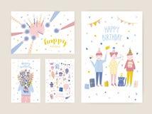 Sammlung Geburtstagsgrußkarten-, Postkarten- oder Parteieinladungsschablonen mit glücklichen Menschen, Kuchen mit Kerzen lizenzfreie abbildung