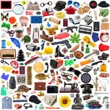 Sammlung Gegenstände im Chaos im weißen Hintergrund lizenzfreies stockbild