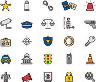 Sammlung Gesetz und Gerechtigkeit Icons Stockfotografie