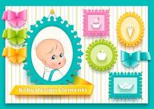 Sammlung Gestaltungselemente für Dekorationskind Stockbild