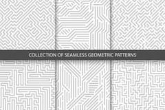 Sammlung gestreifte nahtlose geometrische Muster Graue und weiße Beschaffenheit Stockbild