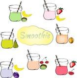 Sammlung gesunde Frucht Smoothies in der Gekritzelart Frisches jui stockfotografie