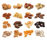 Sammlung gesunde Trockenfrüchte, Getreide, Samen und Nüsse Stockfotografie