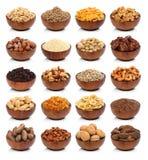 Sammlung gesunde Trockenfrüchte, Getreide, Samen und Nüsse Lizenzfreie Stockfotos