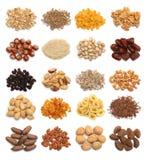 Sammlung gesunde Trockenfrüchte, Getreide, Samen und Nüsse lokalisiert Stockfotos