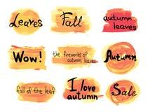 Sammlung gezeichnete Herbstaufkleber des Vektors Hand auf buntem Hintergrund Stockfoto