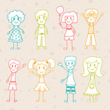 Sammlung glückliche Kinder Hand gezeichnete glückliche Kinder der Karikatur Stockbild