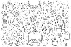 Sammlung glückliche Ostern-Elemente Hand gezeichneter Ikonensatz Lizenzfreie Stockfotos