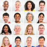 Sammlung glückliche multiethnische Leute Lizenzfreies Stockfoto