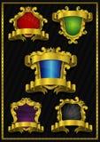 Sammlung goldene Luxusaufkleber Lizenzfreies Stockbild