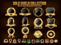 Sammlung goldenes Schild, Aufkleber, Aufkleber oder Bänder Stockbild