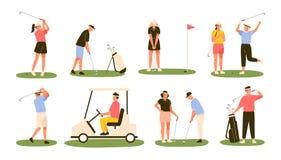 Sammlung Golfspieler lokalisiert auf weißem Hintergrund Bündel männliche und weibliche Golfspieler, die Ball mit Vereinen schlage stock abbildung
