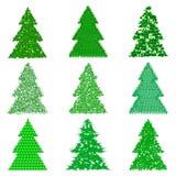 Sammlung grüne Pelzbäume in der Karikaturart Lizenzfreies Stockfoto