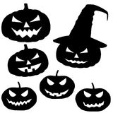 Sammlung Halloween-Kürbise lokalisiert auf weißem Hintergrund, v Lizenzfreie Stockfotografie