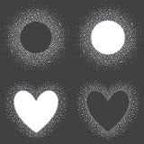 Sammlung Hand gezeichnete Schneerahmen - Herz- und Kreisformen Stockbild