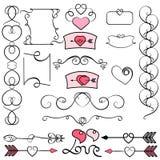 Sammlung Handgezogene Weinlese-Strudelverzierungen mit Herzen r Valentinstageinladung kardiert vektor abbildung
