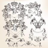 Sammlung heraldische Elemente des Vektors für Design Lizenzfreie Stockfotografie
