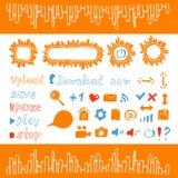 Sammlung Ikonen und Knopfwebdesignelementorangenfarbe Stockbild