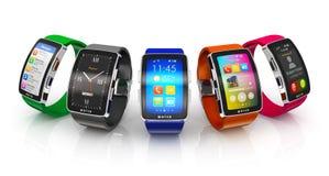 Sammlung intelligente Uhren Lizenzfreies Stockbild