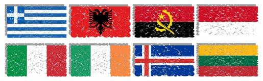 Sammlung künstlerische Flaggen der Welt lokalisiert Stockbilder